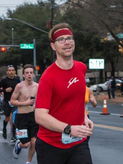 James running the 3M Half Marathon 2018