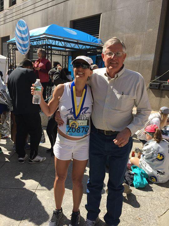 Amy with her dad in Boston, 2016