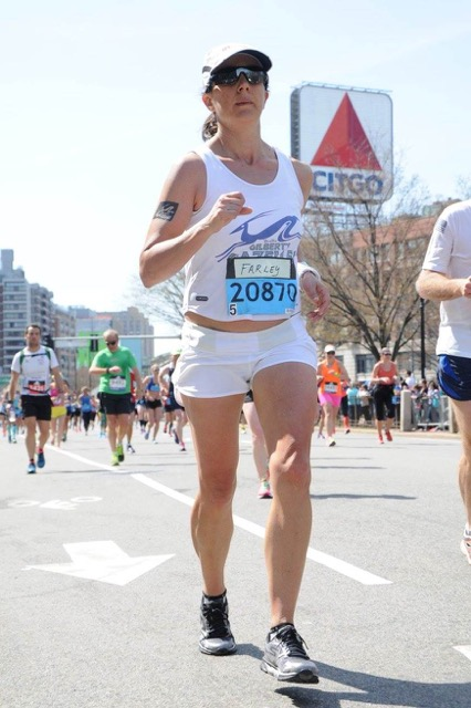 Amy Farley at the Boston Marathon, 2016
