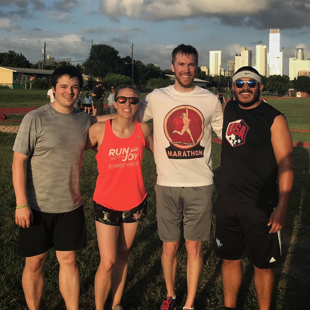Ellen with her brother David (Left) and friends at the Summer Track Series