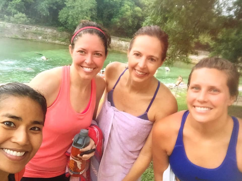 Stephanie (third from left) with fellow Gazelles, cooling down at Barton Springs