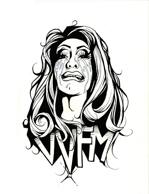 vivvyanne forevermore. t shirt design. pen on paper.