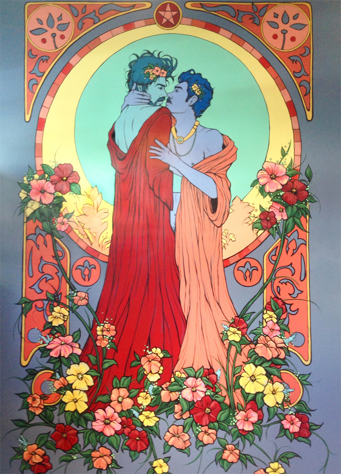 the lovers. mural for pentacle coffee, san francisco. 14'x9'.