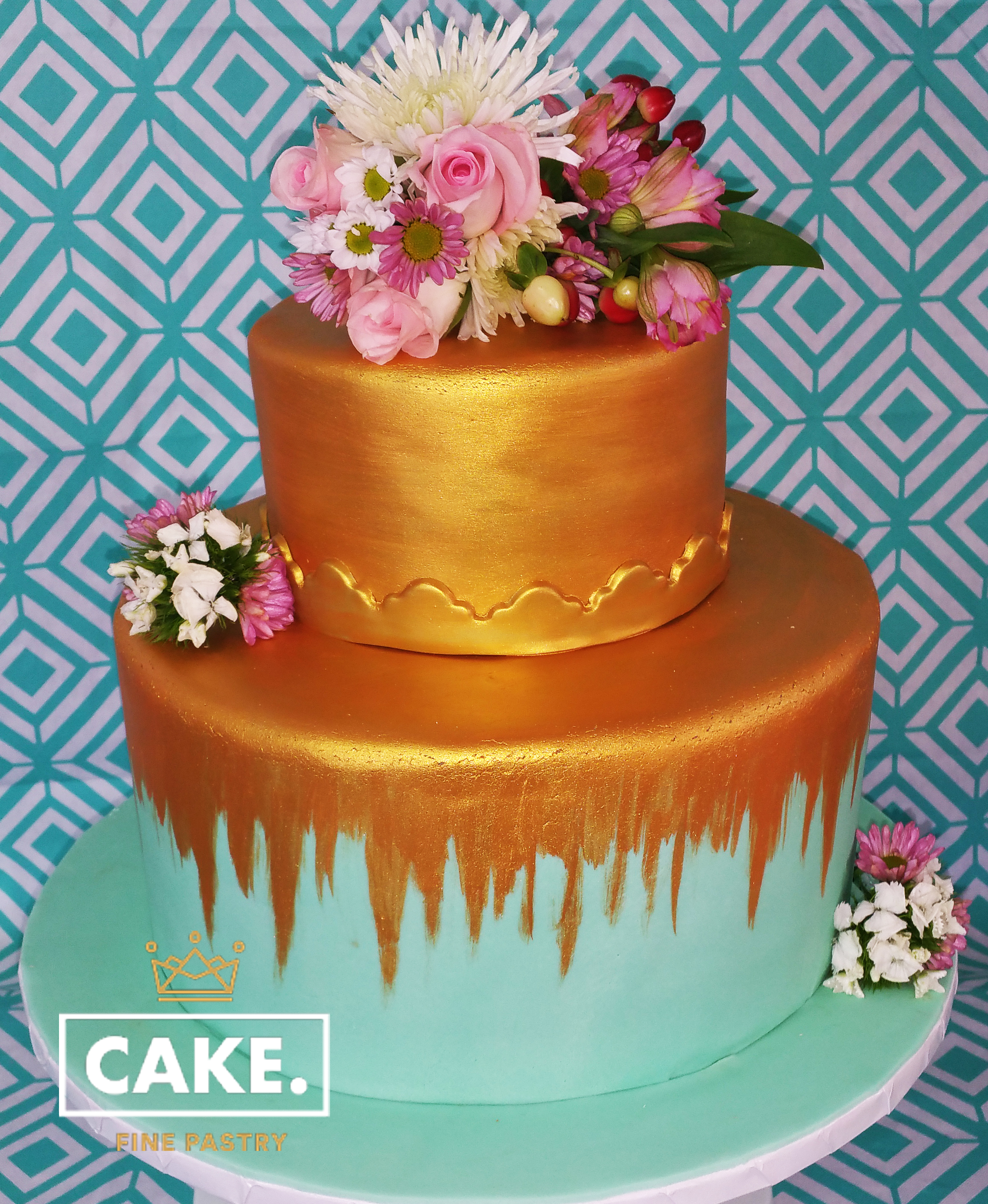 teal and gold cake.jpg