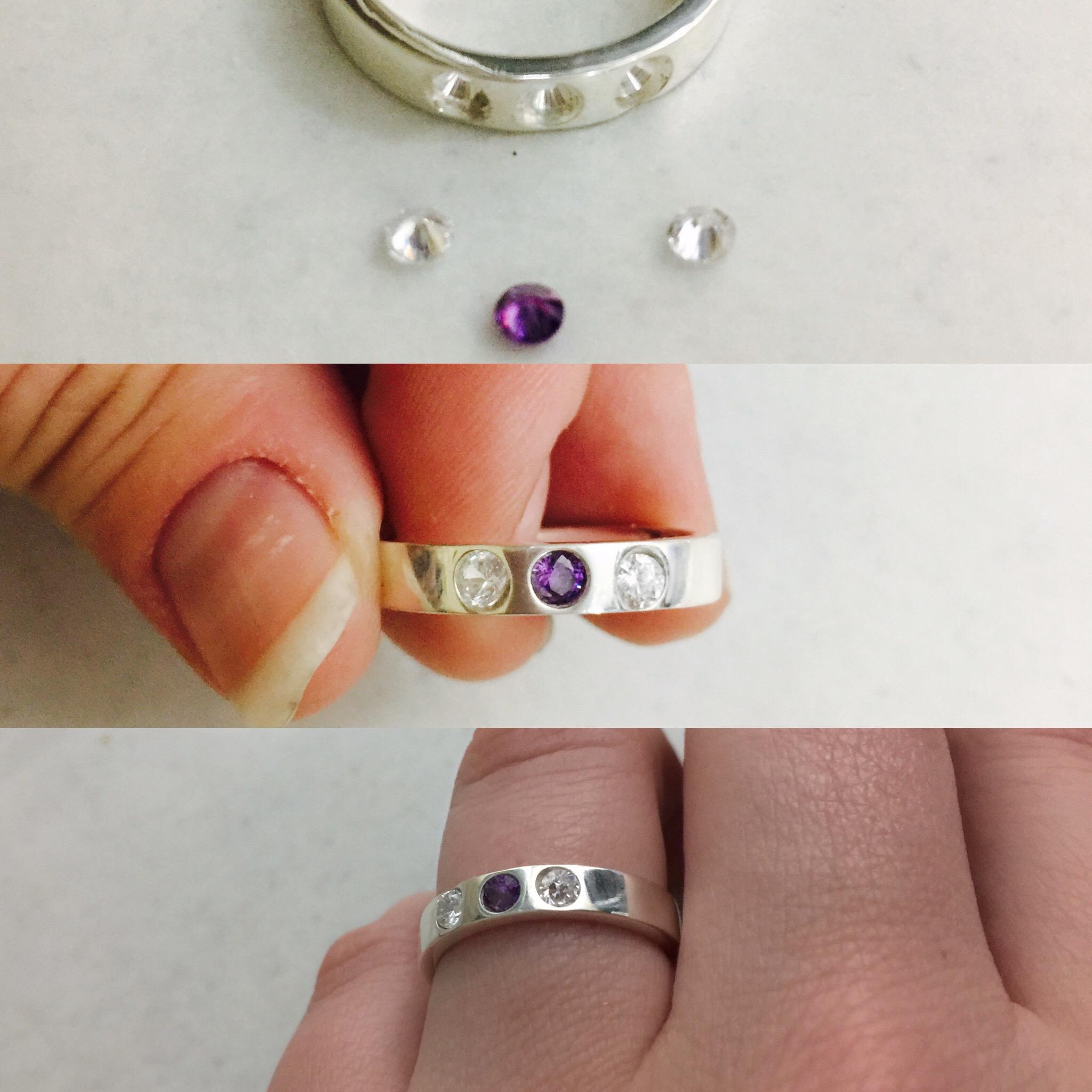 Tri-stone cubic zirconia flush set sterling silver ring