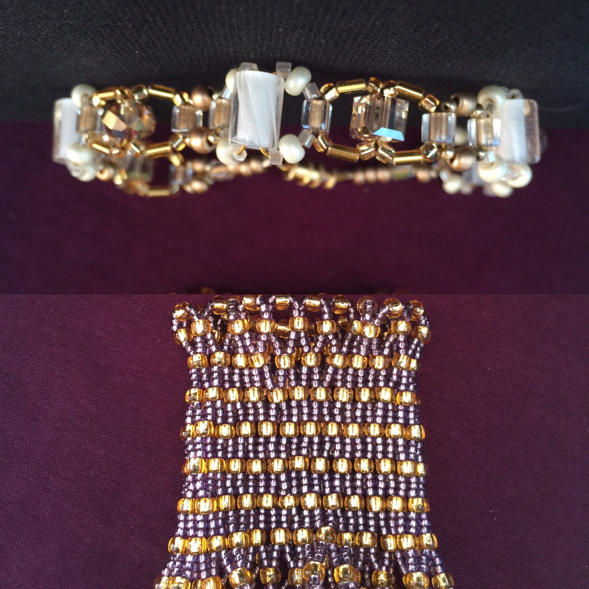Gold bling anklet and hand woven netted cuff bracelet