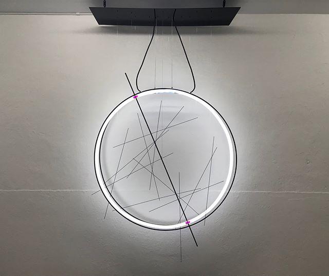 Oscillation between 22.1 ° and 24.5 ° on a 41,000 year cycle • 100cm x 100cm x 30cm • 2017 • . . . . .  #corihoher #studiocorinahoher #artbasel2017 #neon #light #ophiuchus #astronomy