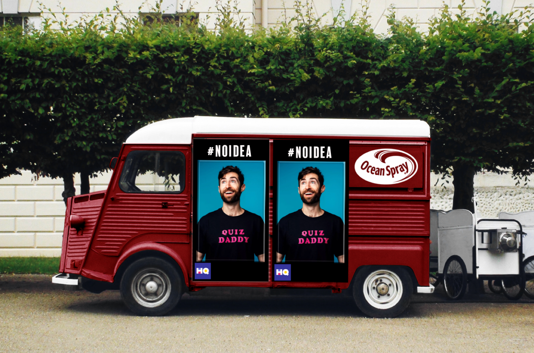 Just an FYI, when we thought of this,  HQ  had had ZERO branded content…Ocean Spray and  HQ  will create a traveling Trivia Truck that stops at fests, street fairs, and local celebrations nationwide.
