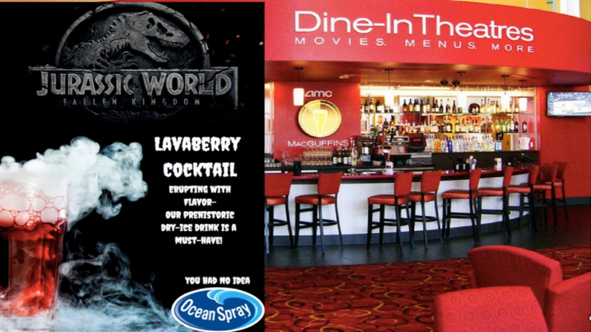 Ocean Spray's AMC cinema ads partner  with the predicted summer blockbuster, Jurassic Park: Fallen Kingdom.