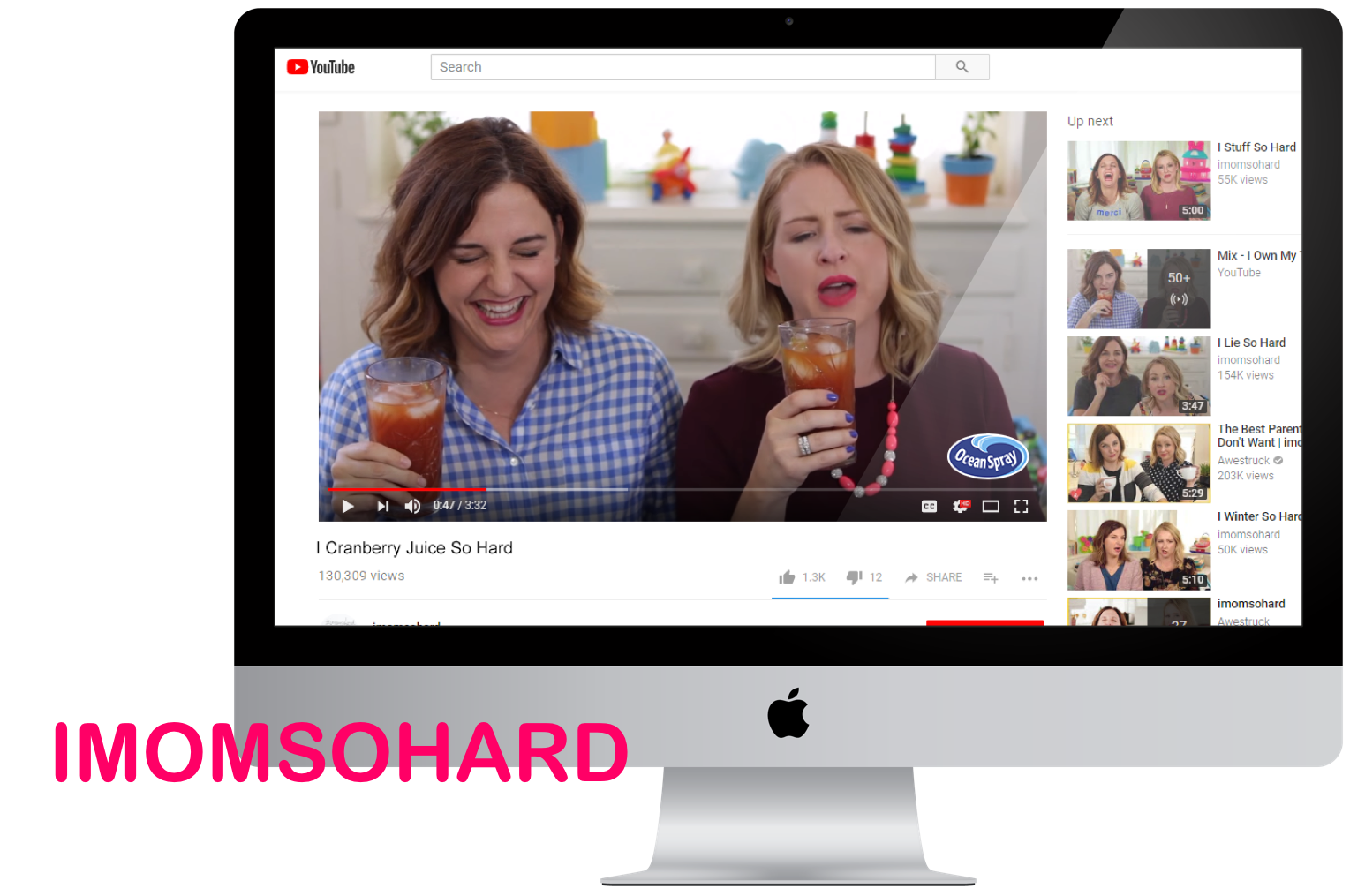 """YouTube channel, features two Millennial moms who get it wrong at times but laugh and chat talk about their experience. Imomsohard  """"has grown to over 1.5 million follows across platforms and over 120 million video views."""""""