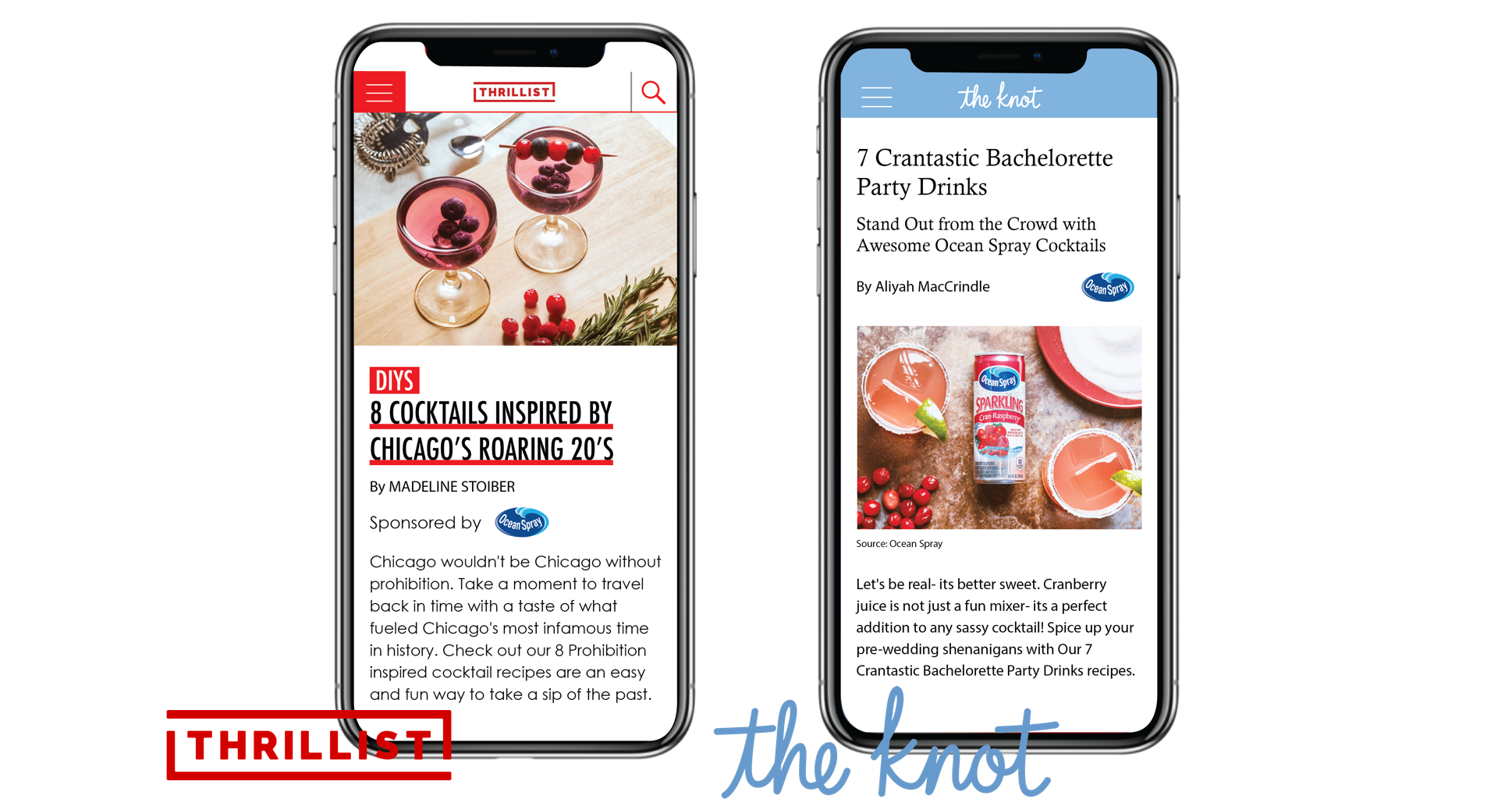 """69% of millennials experience FOMO.  Thrillist , an online media brand known for underground recipes and events, attracts a 60% millennial audience. Ocean Spray shares exclusive """"secret"""" cocktails and speakeasy branded content.—————————————————————————————————————————————————————  The Knot  is the #1 wedding network reaching 80% of U.S. bride with 5.7 million visits  monthly. Ocean Spray pitches year-round """"Beauty + Wellness"""" ideas like: cranberry  bachelorette party drinks, wedding decor, mocktails and more."""
