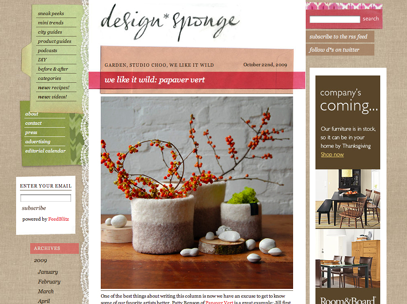 Interview on Design Sponge.