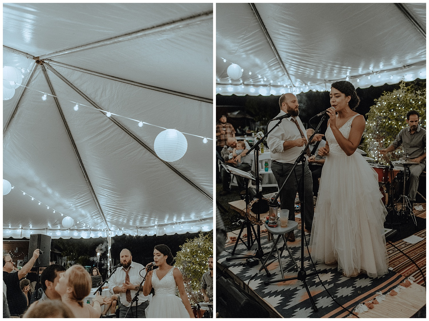 bride and groom sing at wedding