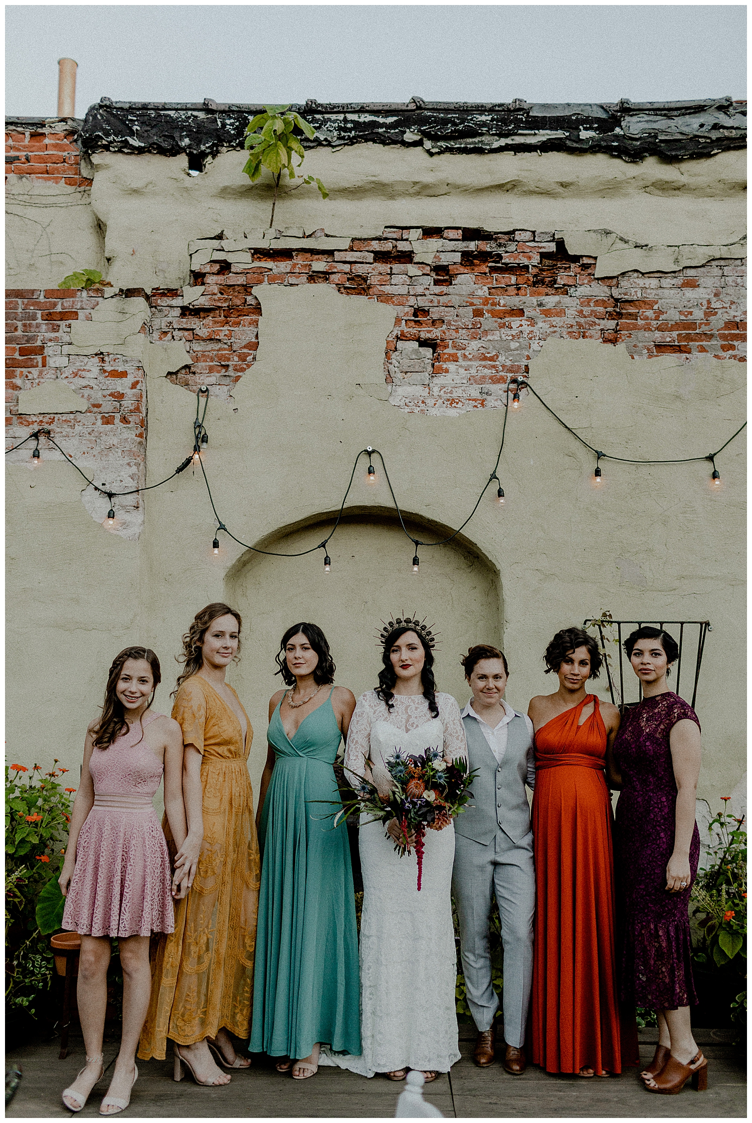 a hipster bridal party