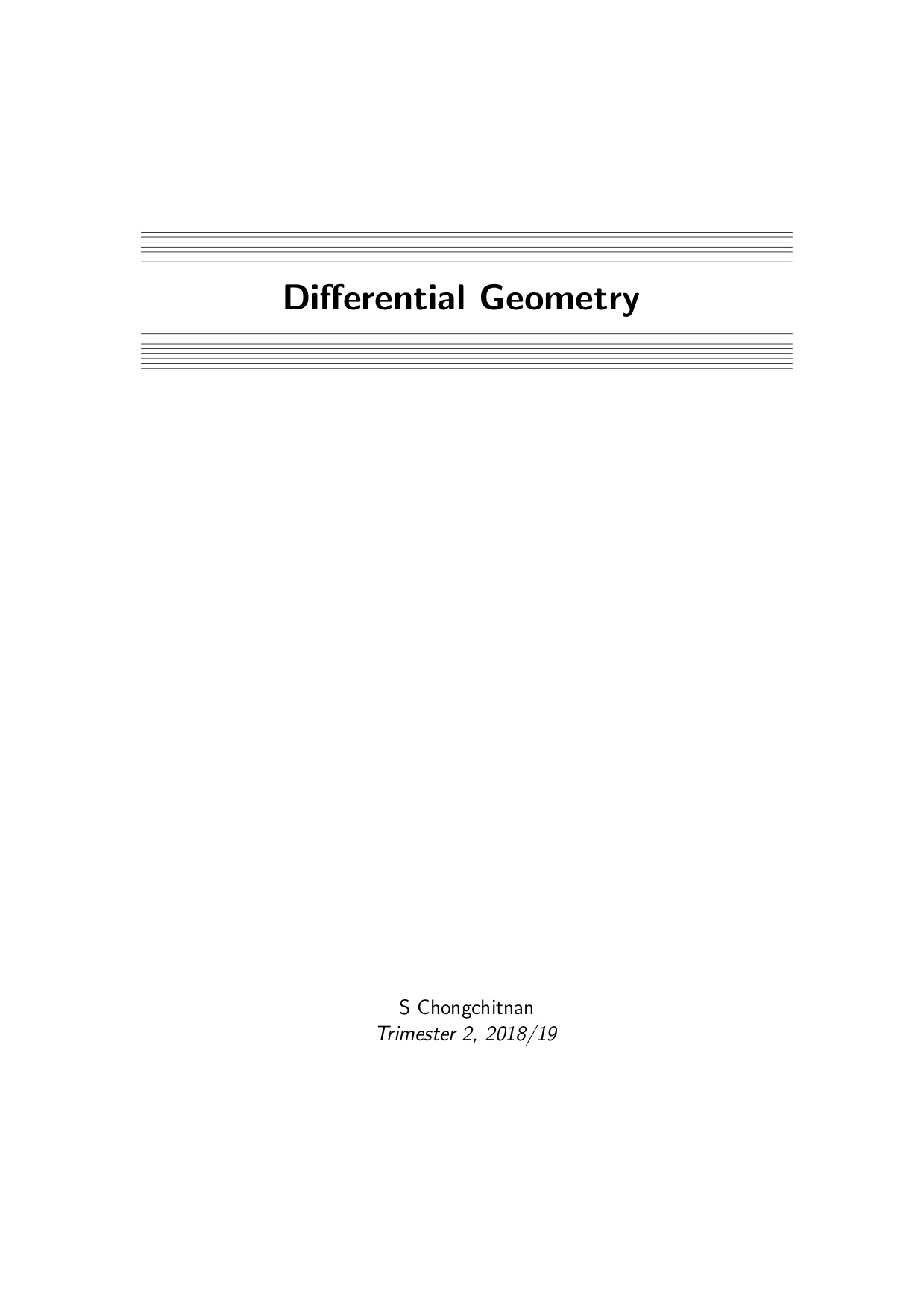 Differential Geometry 18/19