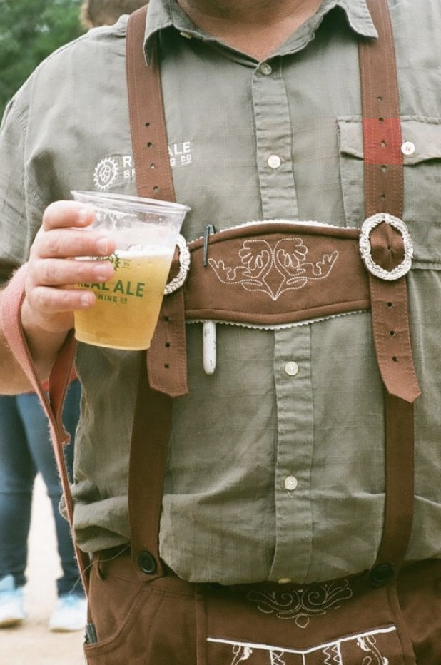 Brad dons the lederhosen.   Nikon TeleTouch | Expired Kodak Gold 200  by Harrison Civick