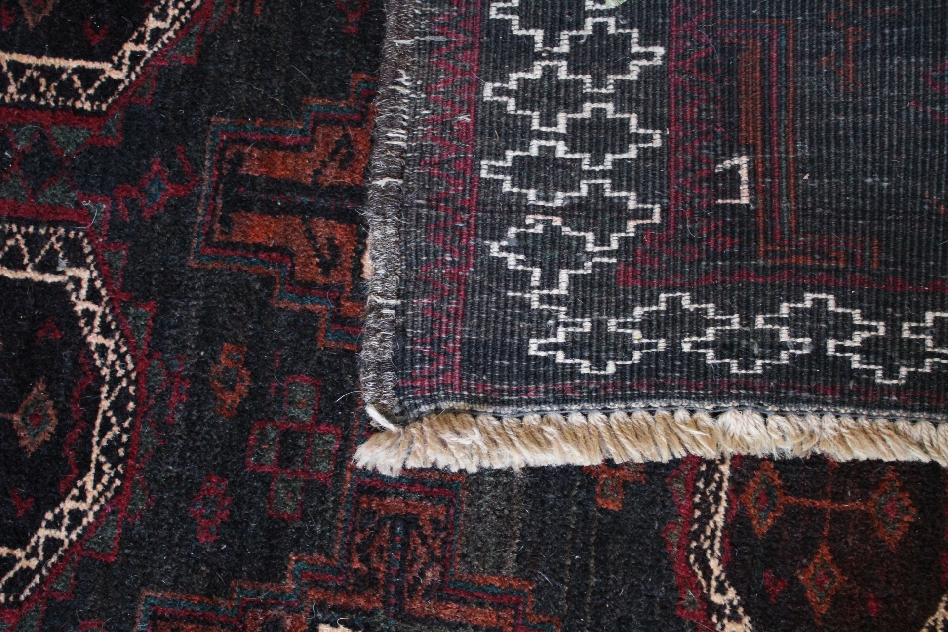Handmade rug where the fringe is part of the rugs foundation.