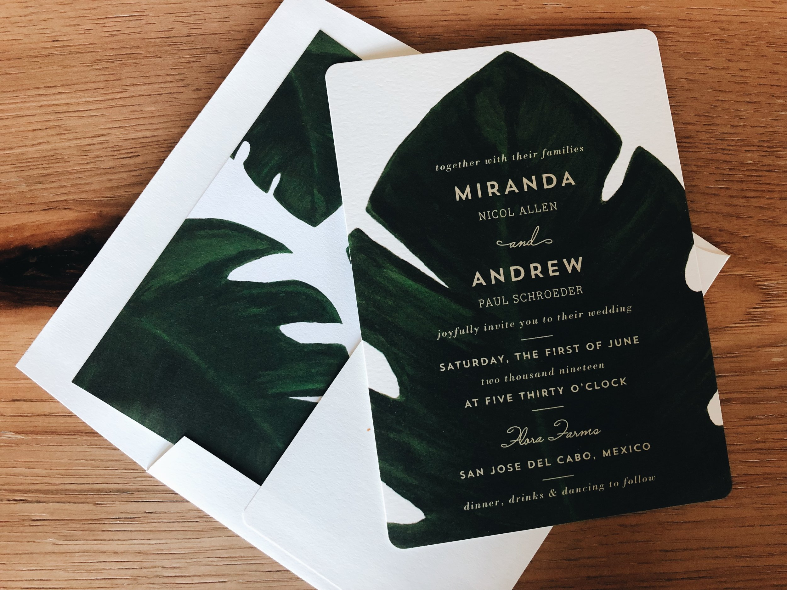 Minted Palm Wedding Invitations with Envelope