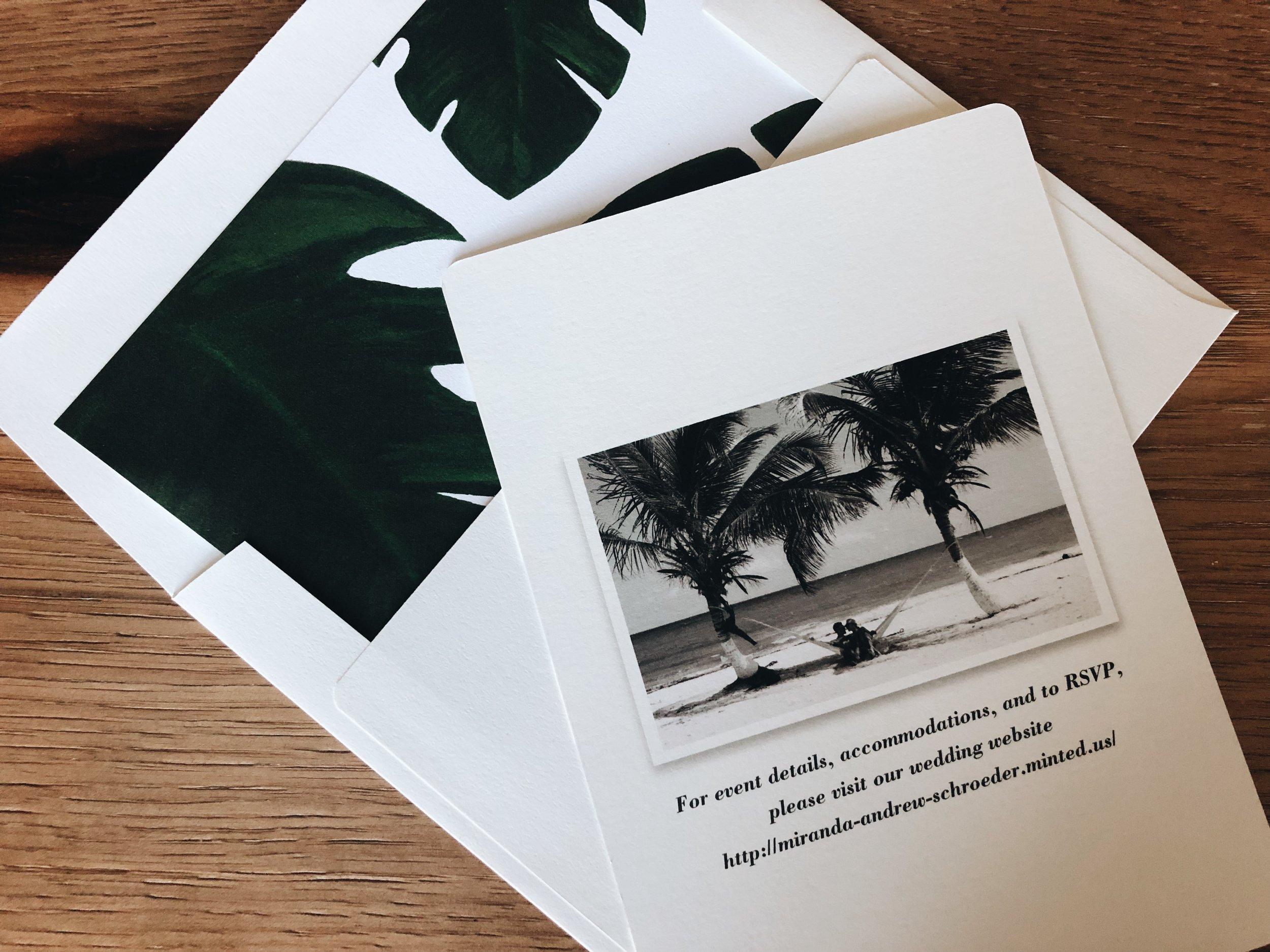 Palm Wedding Invitations   Tropical Wedding Stationary