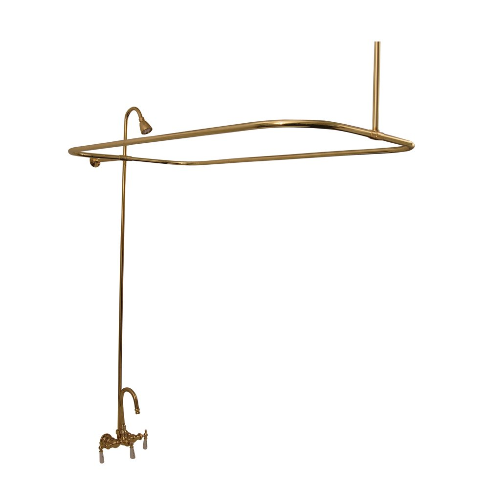 Brass Claw Foot Tub Filler with Shower Rod Surround