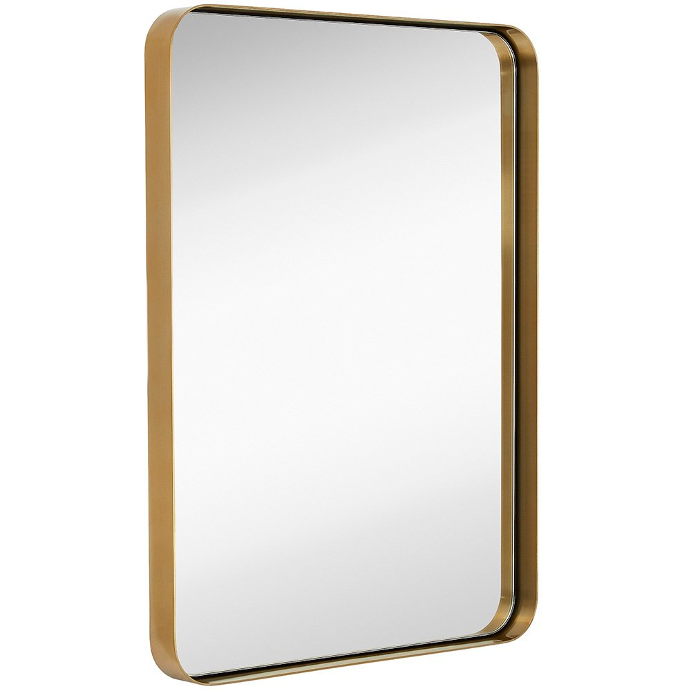 Modern Brass Bathroom Mirror Rectangle with Rounded Corners