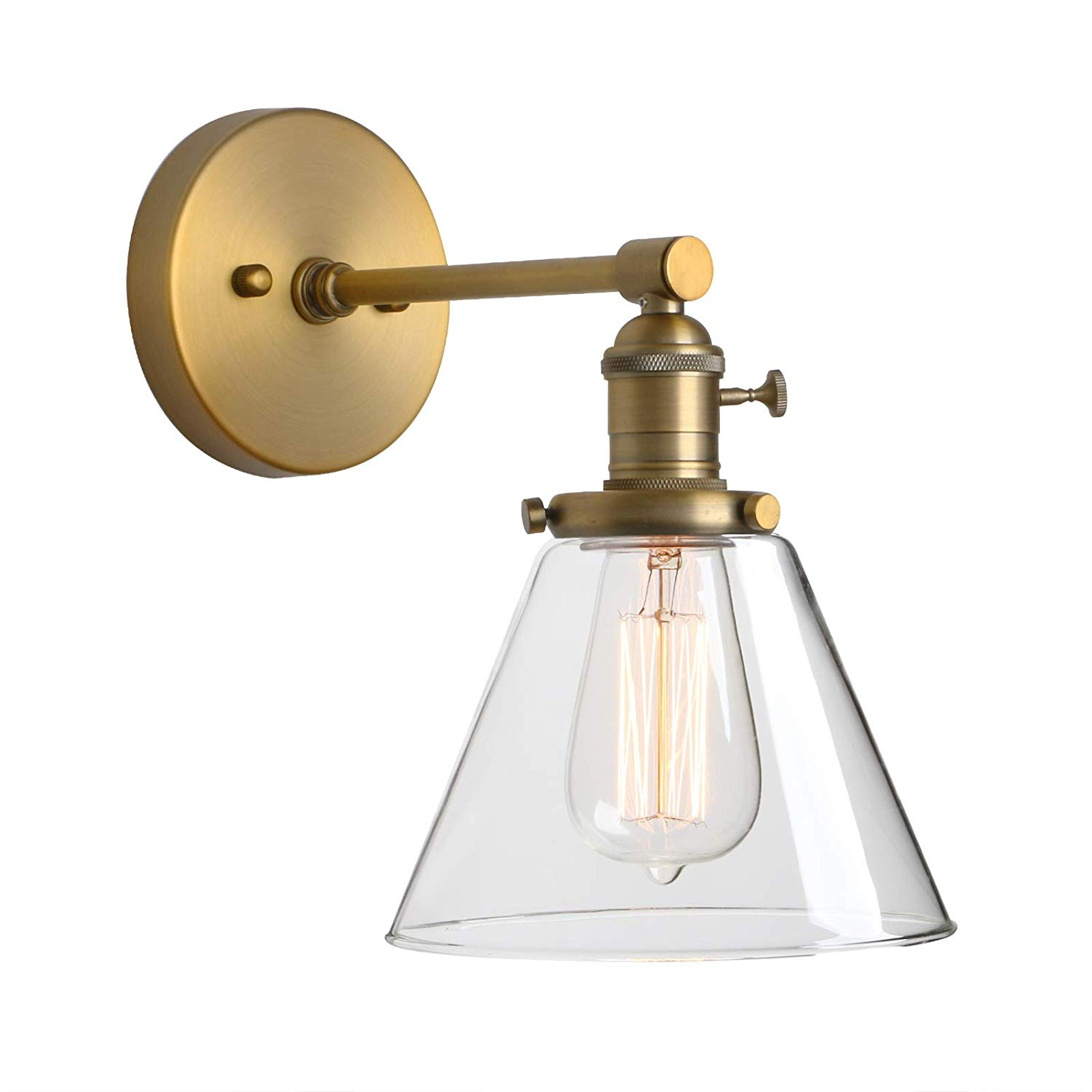 Brass Sconce with Glass for Bathroom Mirror