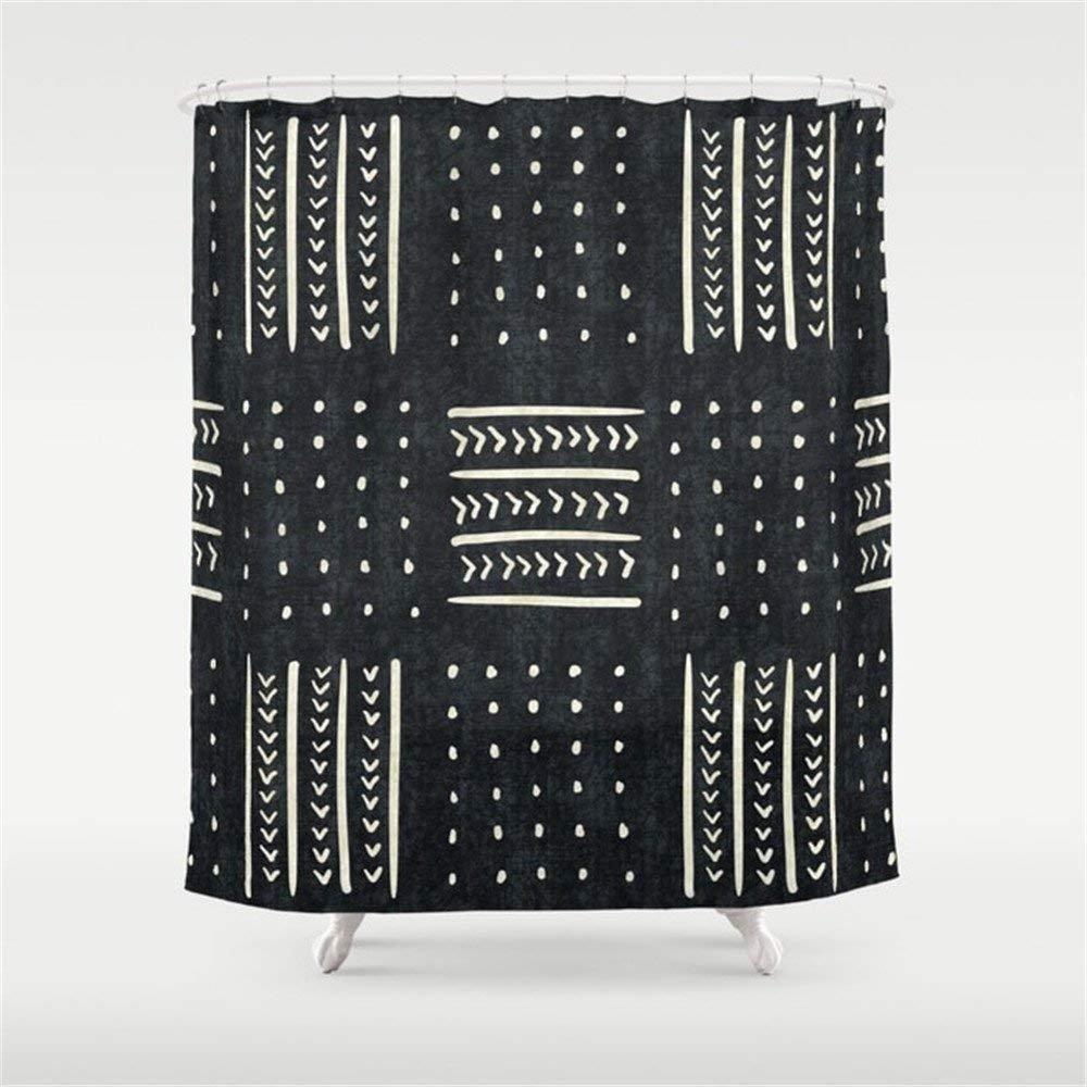 Black Mudcloth Shower Curtain