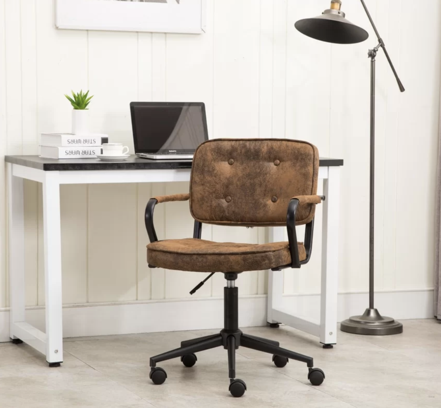 Batcher Brown Leather Office Chair with Arms