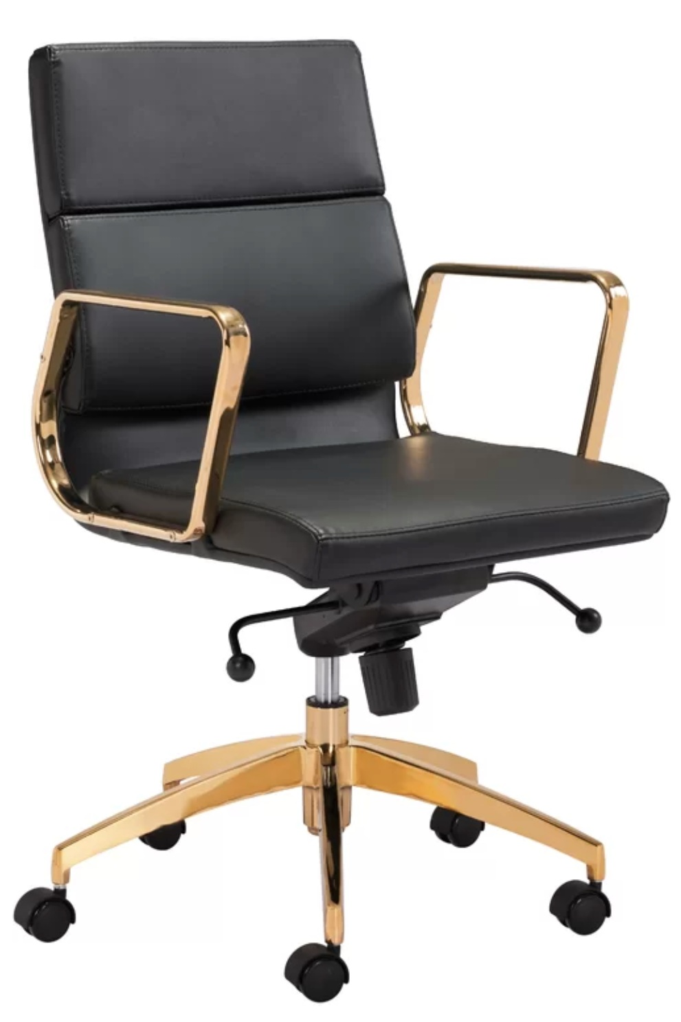 Lakes Low Back Black and Gold Office Chair.
