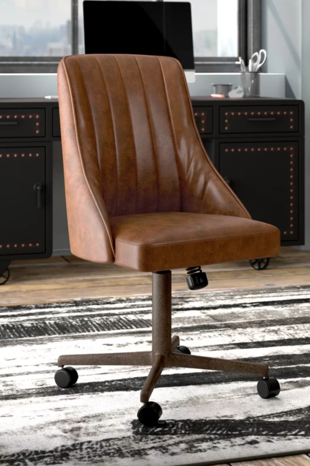 Rio Office Chair Camel Brown Leather.
