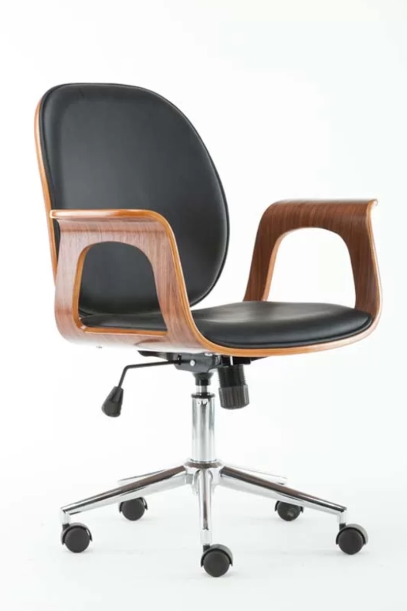 Besaw Office Chair Black with Wooden Arms