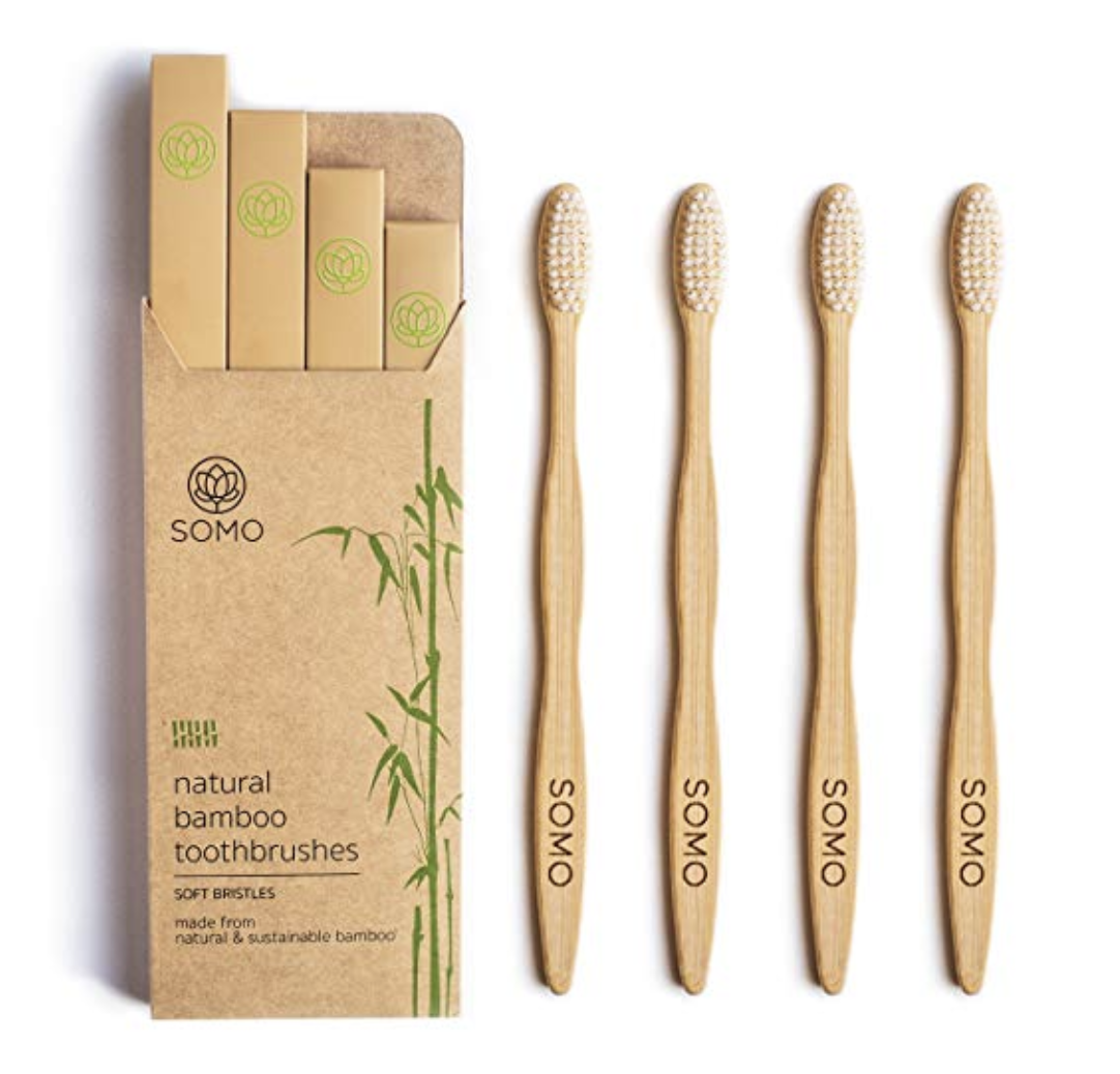Somo Natural Bamboo Adult Toothbrush, Organic Plant Based Soft BPA Free Bristles Eco Friendly Biodegradable Wooden