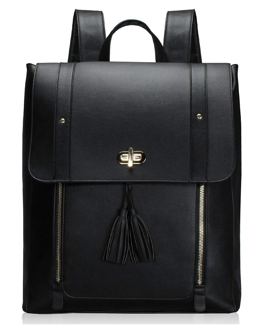ESTARER Women PU Leather Backpack 15.6inch Laptop Vintage College School Rucksack Bag (Black)