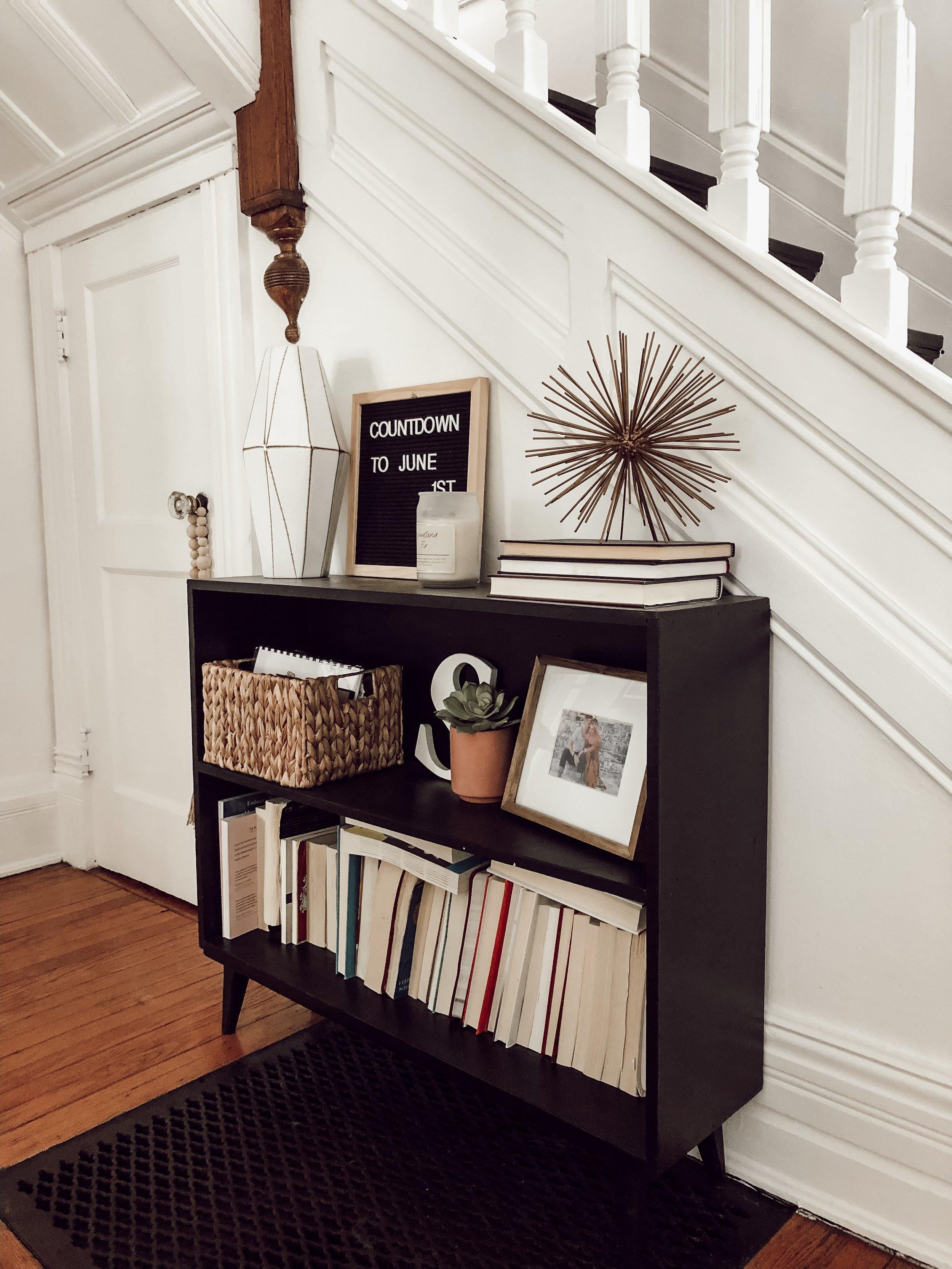 Black Bookcase, Entryway, Staircase | Miranda Schroeder House Tour