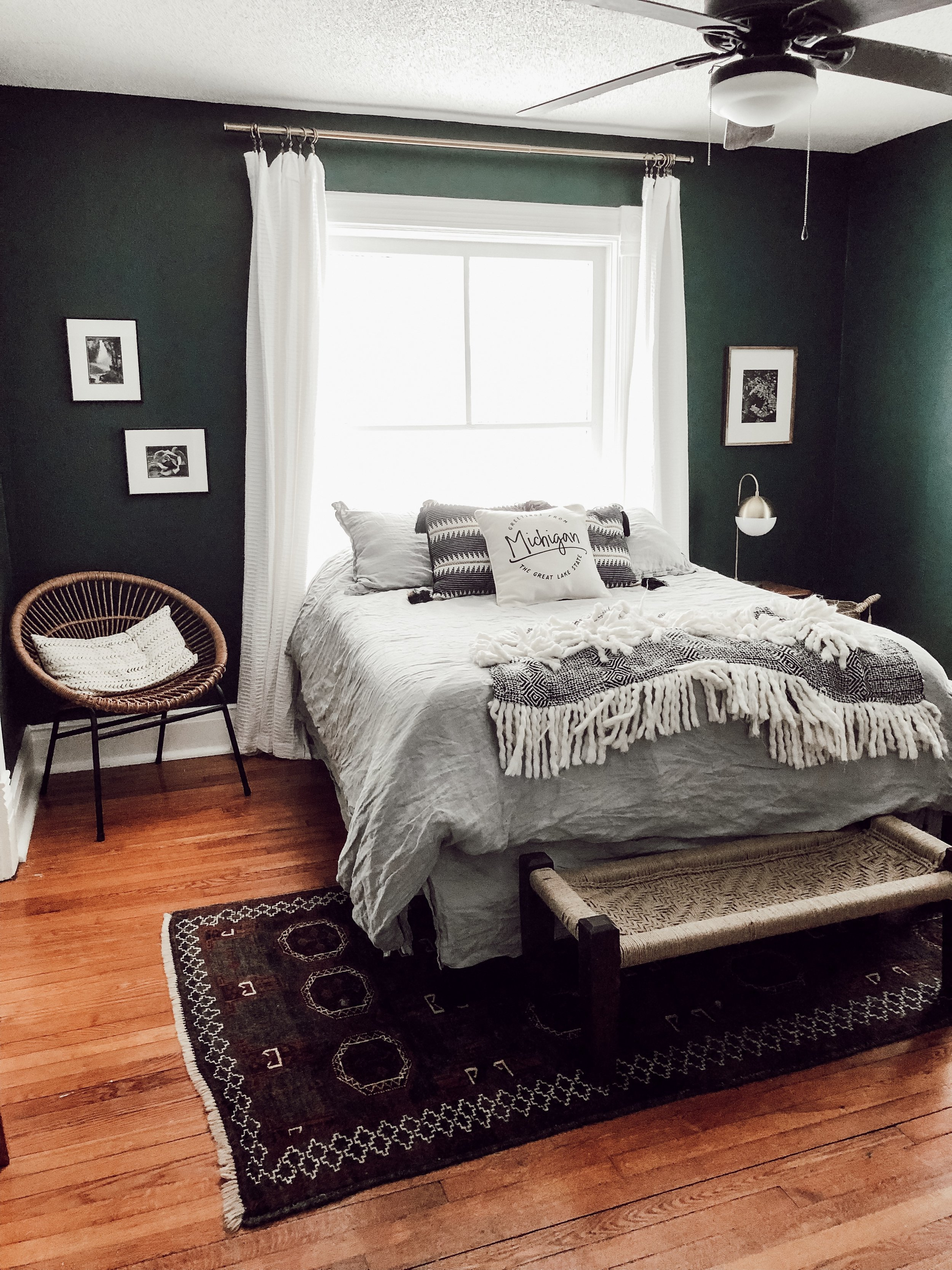 Guest Bedroom Black Evergreen Walls | Miranda Schroeder House Tour