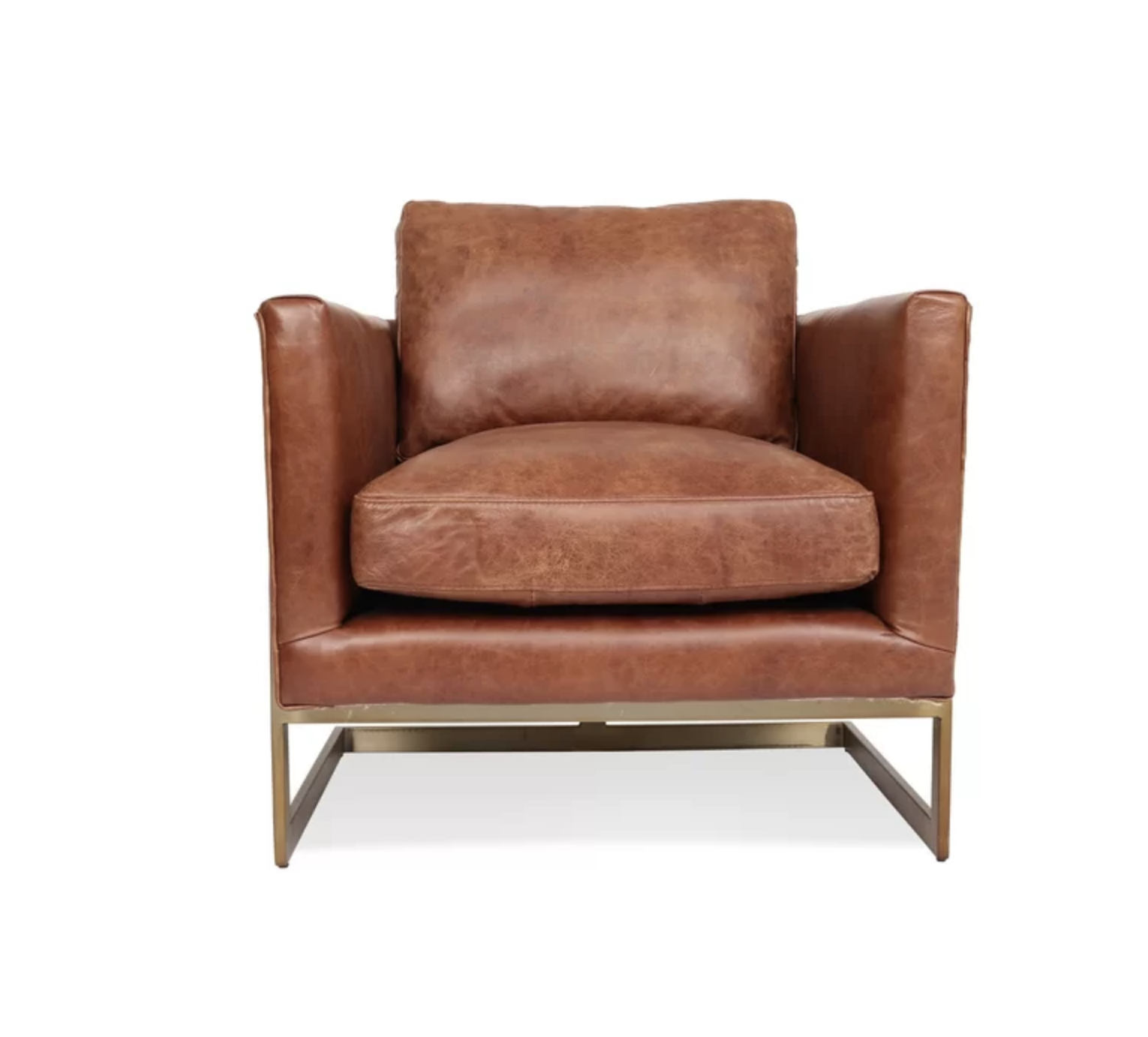 Leather Accent Chair with Gold Metal Base Frame Accent Chair Roundup | Modern, Industrial, Rustic, Beach, Boho Accent and Arm Chairs | Miranda Schroeder Blog