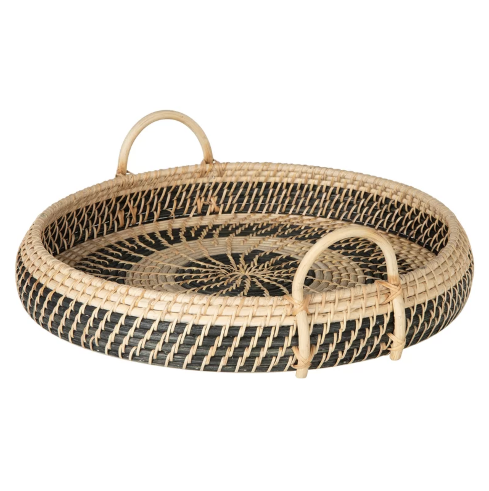 Natural and Black Woven Tray Basket with Handles | Shop Miranda Schroeder Blog