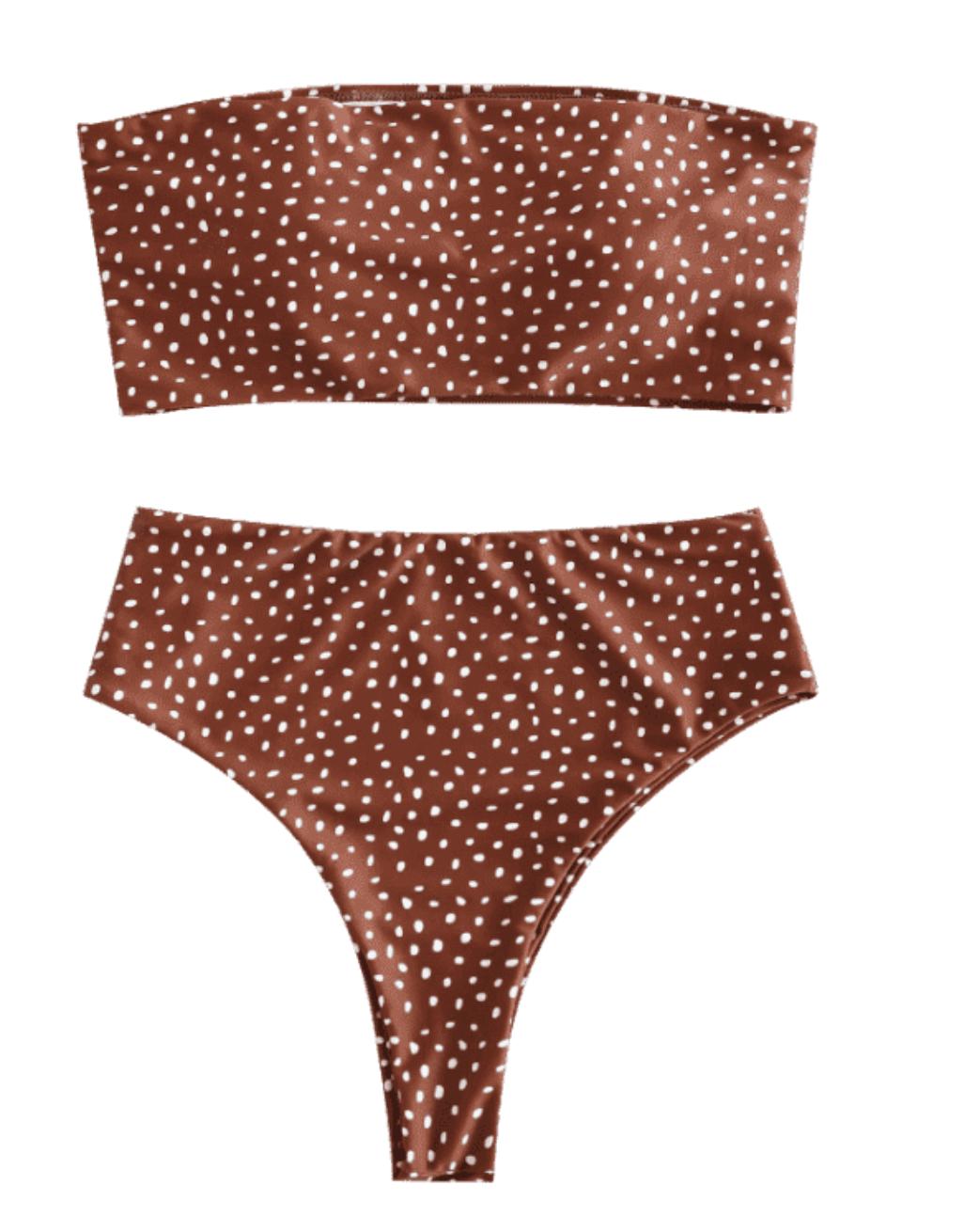 Spotted High Waisted Strapless Bikini - Light Brown | Honeymoon Bikinis | Miranda Schroeder Blog