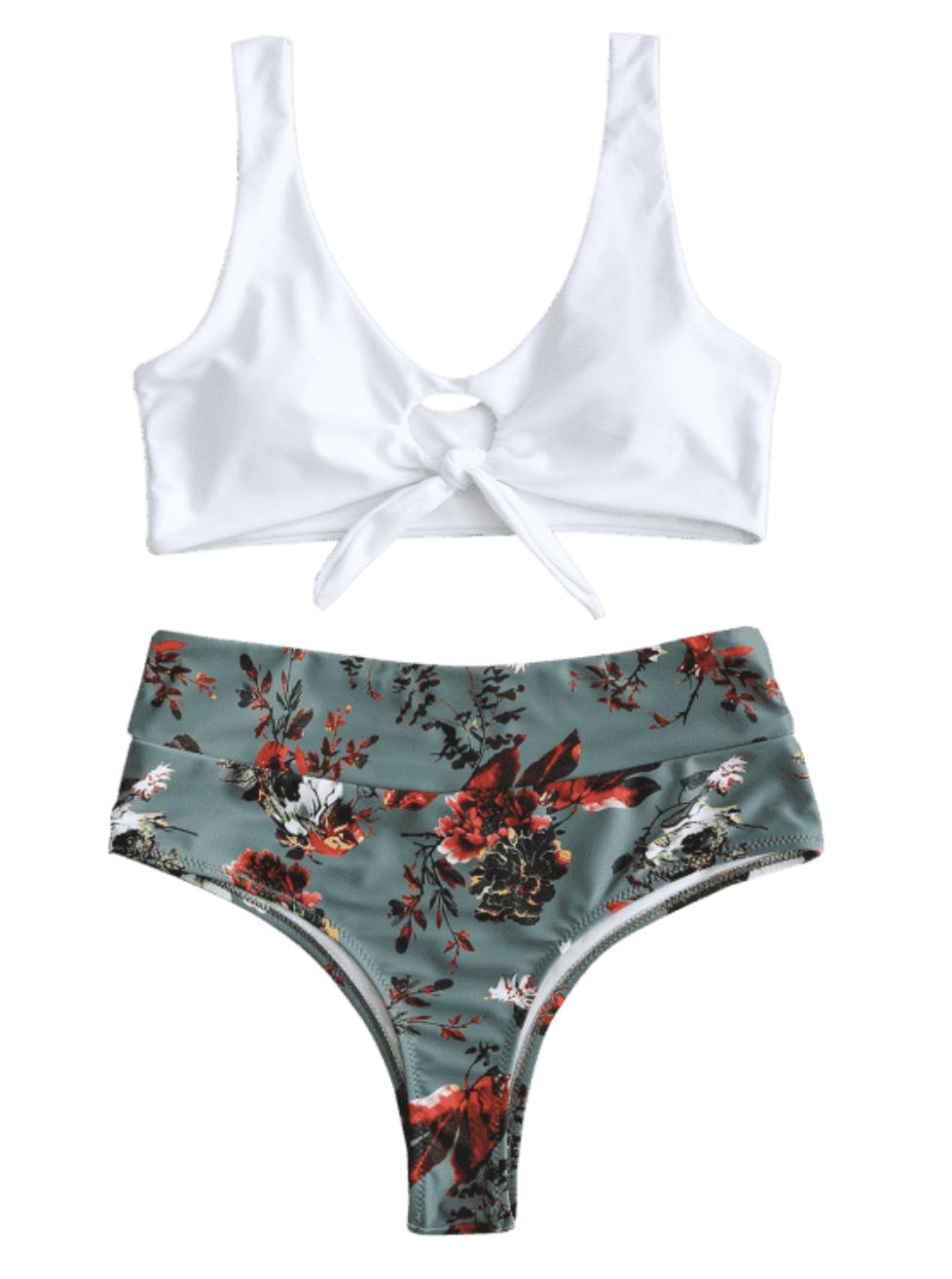 Front Knot Floral Bikini Set - Hazel Green | Cute, Sexy Honeymoon, Vacation, Summer Bikinis, Swim Suits | Miranda Schroeder Blog