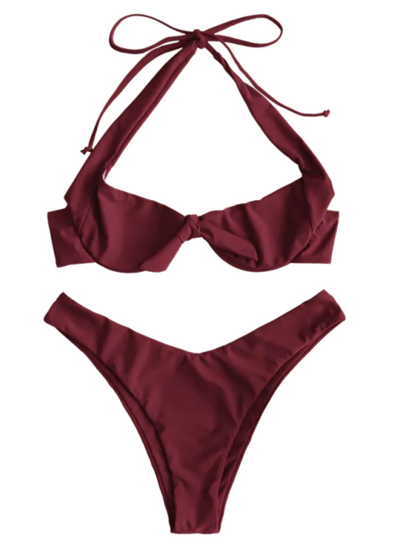 Halter Knotted Bikini Set - Firebrick | Cute, Sexy Honeymoon, Vacation, Summer Bikinis, Swim Suits | Miranda Schroeder Blog