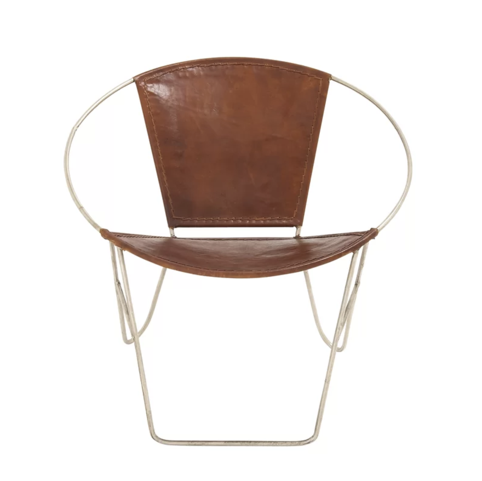 Brown Leather and Gold Metal Papasan Chair Accent Chair Roundup | Modern, Industrial, Rustic, Beach, Boho Accent and Arm Chairs | Miranda Schroeder Blog