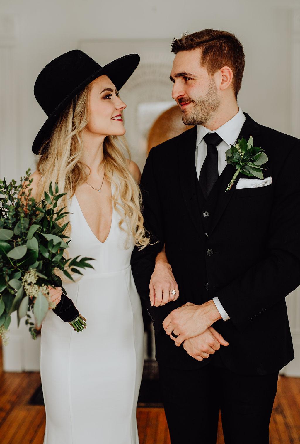Our Intimate Courthouse Wedding | Greenery Bouquet & Black Bridal Hat | Miranda Schroeder Blog | www.mirandaschroeder.com