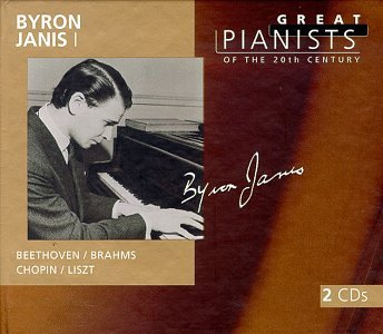 "Byron Janis   Front:  Byron Janis  Beethoven Brahms  Chopin Liszt  Back:  Disc 1  Preludes and Fugues (6), transcription for piano (after J.S. Bach), S. 462 (LW A92)  Prelude and Fugue in A Minor, BWV. 543 3:18  Prelude and Fugue in A Minor, BWV. 543 6:04  Piano Sonata No.17 in D Minor (""Tempest""), Op. 31/2  Largo- Allegro 12:03  Adagio 5:38  Allegretto 4:50  Impromptus (4) for piano, D. 899 Op. 90  No. 2, Impromptu in E- Flat Major 4:20  Waltzes (16) for piano, 4 hands (or piano), Op.39  No. 15 in A-Flai Major 1:45  No. 1 in B Major 0:48  No. 2 in E Major 1:26  No. 6 in C Sharp 0:57  Arabesques on J Strauss II's ""The Blue Danube Waltz"" for piano  7:11  Liebestraume, notturno for piano No.3 in A Flat Major (""O Lieb, so             lang du lieben kannst""), S. 541/3 (LW A103/3)               4:30  Hungarian Rhapsody, for piano No.6 in D Flat Major, S. 244/6 (LW             A 132/6)                                                                                7:11  Consolation for piano No. 5 in E Major ""Andantino"", S. 172/5 (LW             A111a/2/5)                                                                           2:33  Sonetto del Petrarco No. 104 (Pace non trovo; II) for Piano (Annees 11/5) S. 161/5 (LW A55/5)  Sonetto 104 del Petrarca 5:30  Rigoletto: paraphrase de concert (after Verdi), for Piano, S. 434             (LW A187)                                                                             5:47  Disc 2  Ballade for piano No. 1 in G minor, Op. 23, CT. 2 9:26  Impromptu for piano in A flat major, Op. 29, CT. 43 3:46  Waltz for piano in E minor, KK IVa/15, CT. 222 (B. 56) 2:50  Waltz for piano No. 3 in A minor, Op. 34/2, CT. 209 5:16  Mazurka for piano No. 45 in A minor, Op. 67/4. CT. 95 2:37  Etude for piano No. 3 in E major, Op. 10/3, CT. 16 3:55  Etude for piano No. 15 in F major, Op. 25/3, CT 28. 1:45  Etude for piano No. 5 in G flat major, Op. 10/5, CT. 18 1:33  Etude for piano No. 8 in F major, Op. 10/8, CT. 21 2:34  Piano Sonata No. 2 in B flat minor, Op. 35, CT. 202  Grave – Doppio movimento 5:20  Scherzo 6:09  Marche funebre 7:44  Finale: Presto                         1:27  Scherzo for piano No. 3 in C sharp minor, Op. 39, CT. 199 7:16  Recorded 1947, 1950, 1952, 1956  Total Playing Time 2:12:22"