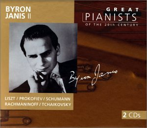 "Byron Janis 2   Front:  Byron Janis 2  Liszt Prokofiev Schumann  Rachmaninoff Tchaikovsky  Back:  Disc 1  Piano Concerto No. 1 in E flat major, S. 124 (LW H4  Allegro maestoso 5:14  Quasi adagio – Allegretto vivace – Allegro animato 8:19  3. Allegro marziale animato 4:07  Piano Concerto No. 1 in F sharp minor, Op. 1  Vivace 12:03  Andante 5:38  Allegro vivace 7:24  Piano Concerto No. 3 in C major, Op. 26  Andante – Allegro 9:02  Tema con variazioni 9:00  Allegro ma non troppo 9:04  Toccata for piano in D minor, Op. 11 4:08  Disc 2  Piano Concerto No. 2 in C minor, Op. 18  Moderato 10:14  Adagio sostenuto 9:55  Allegro scherzando 10:45  Piano Sonata No. 3 in F minor (""Concerto Without Orchestra""), Op. 14  Quasi variazioni (Variations on a theme by Clara Wieck) 7:29  Romances (3) for piano, Op. 28  No. 2 in F sharp 3:19  Piano Concerto No. 1 in B flat minor, Op. 23  Allegro non troppo e molto maestoso – Allegro con spirit 18:55  Andantino semplice – Prestissimo – Tempo 1 6:50  Allegro con fuoco 6:33  Recorded 1960,1962, 1964  Total Playing Time 2:27:47"
