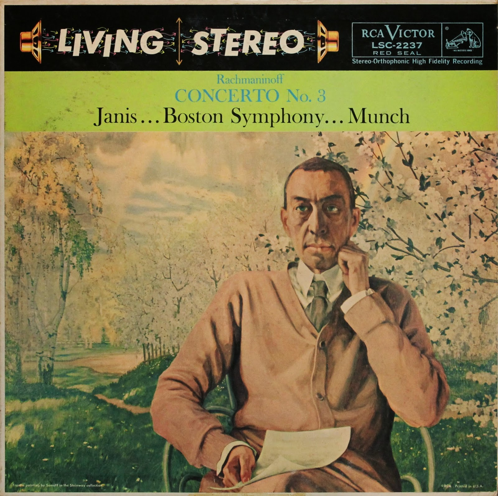 Living Stereo Rachmaninoff Concerto No. 3   Front:  Rachmaninoff Concerto No.3  Janis…Boston Symphony…Munch  Back:  Rachmaninoff  Concerto No. 3, in D Minor, Op.30  Byron Janis, Pianist  Boston Symphony Orchestra- Charles Munch, Conductor  Musical Director: Richard Mohr Engineer: Lewis Layton  Piano Concerto No.1 in F-Sharp Minor, Op.1  No. 1, Vivace – Moderato             12:15  No. 2, Andante             5:41  No. 3, Allegro vivace             7:37  Piano Concerto No.3 in D Minor, Op. 30  No.1, Allegro ma non tanto 14:39  No. 2, Intermezzo: Adagio – attaca subito 10:02  No.3, Finale: Alla breve 12:47  Recorded 1961  Total Play Time: 63:02