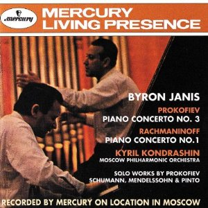 "Mercury Living Presence Prokofiev Concerto No. 3, Rachmaninoff Concerto No. 1   Front:  Byron Janis  Prokofiev  Piano concerto No. 3  Rachmaninoff  Piano Concerto No. 1  Kyril Kondrashin  Moscow Philharmonic Orchestra  Solo works by Prokofiev  Schumann, Mendelssohn & Pinto  Recorded by Mercury on location in Moscow  Back:  This Mercury Living Presence SACD of piano concertos by Prokofiev and Rachmaninoff presents, for the first time, Byron Janis's celebrated recordings in their original 3-channel (left, right, centre) versions. In addition to this direct-to-DSD 3-channel stereo, the disc includes a new DSD stereo, plus the original CD transfer.  Recorded by Mercury on location in Moscow  Byron Janis piano  Moscow Philharmonic Orchestra  Kyril Kondrashin conductor  Serge Prokofiev (1891-1953)  Piano Concerto No.3 in C major, Op.26 26:49  Sergei Rachmaninoff (1873-1943)  Piano Concerto No.1 in F sharp minor, Op.1 24:51  Serge Prokofiev  Toccata 4:06  Robert Schumann (1810-1856)  Variations on the Theme by Clara Wieck (""Quasi Variazioni) 7:16  Felix Mendelssohn (1809-1847)  Song without words, Op. 62, No.1 2:46  Octavio Pinto (1890-1950)  Three Scenes from Childhood 3:07  Total timing 68:55  Cover photo: Brice Somers  SACD 3-Channel Stereo, SACD Stereo, CD Audio  2005 Decca Music Group Limited"