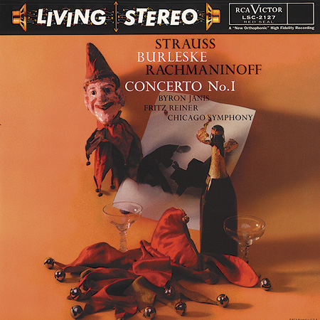 Strauss, Burleske, Rachmaninoff: Concerto No. 1   Front:  Byron Janis  Fritz Reiner  Chicago Symphony  Back:  Rachmaninoff  Concerto No.1, in F-Sharp Minor, Op.1  Richard Strauss Burleske  Byron Janis, Pianist  Chicago Symphony Orchestra Fritz Reiner, Conductor  Vivace                         12:14  Andante 5:41  Allegro vivace 7:28  Burleske 20:01  Recorded 1957  Total Play Time: 46:34