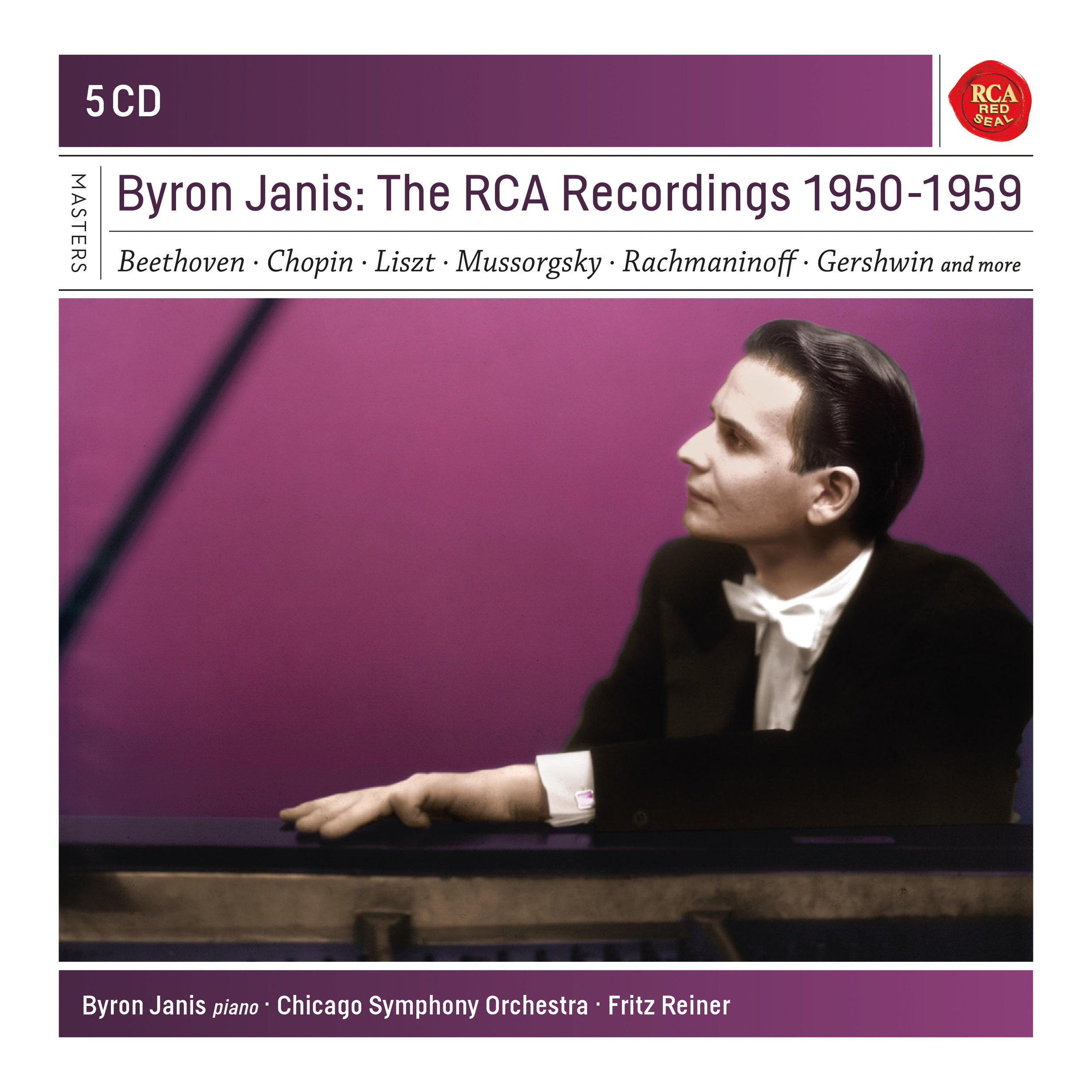 "Byron Janis: The RCA Recordings 1950-1959   CD 1 Schumann: Piano Concerto Liszt: Totentanz · Strauss: Burleske Chicago Symphony Orchestra · Fritz Reiner CD 2 Rachmaninoff: Piano Concertos Nos. 1 & 3 Chicago Symphony Orchestra · Fritz Reiner CD 3 Mussorgsky: Pictures at an Exhibition Liszt: Paraphrase de concert sur Rigoletto Liebestraum No. 3 · Hungarian Rhapsody No. 6 J. Strauss II / Schulz-Evler: Concert Arabesques Gershwin: Rhapsody in Blue Hugo Winterhalter and his Orchestra CD 4 Beethoven: Piano Sonata No. 17 ""The Tempest"" Piano Sonata No. 21 ""Waldstein"" Piano Sonata No. 30 Schubert: Impromptu in E-flat major Brahms: Waltzes op. 39: Nos. 1, 2, 6 & 15 CD 5 Chopin: Piano Sonata No. 2 ""Funeral March"" Impromptu No. 1 · ""Black Keys"" Étude Mazurka in A minor · Scherzo No. 3 Grande Valse brillante in A minor Waltz in E minor · Ballade No. 1 · Étude in F major"