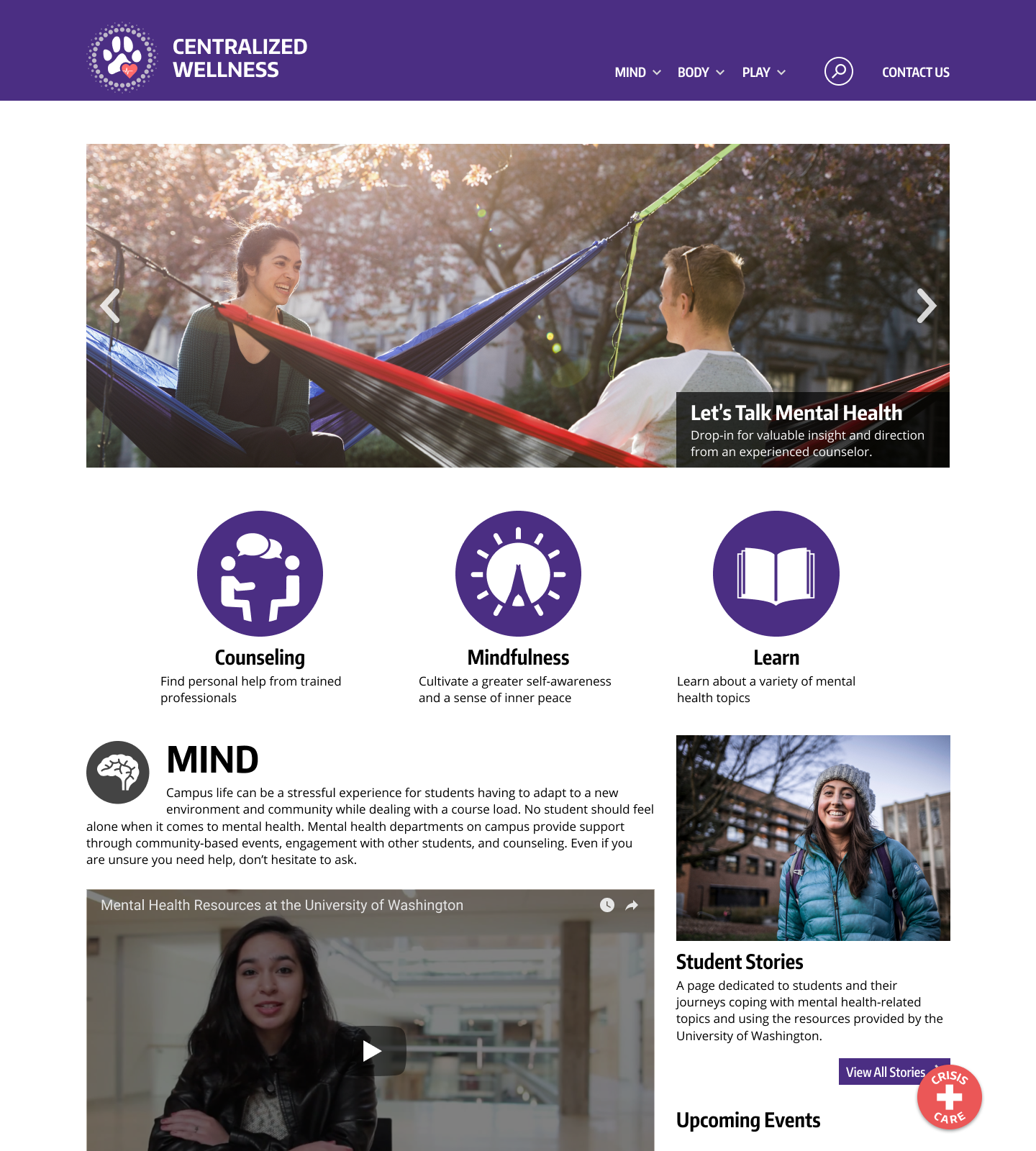 Mind:  The page that hosts the counseling, mindfulness, and mental health education