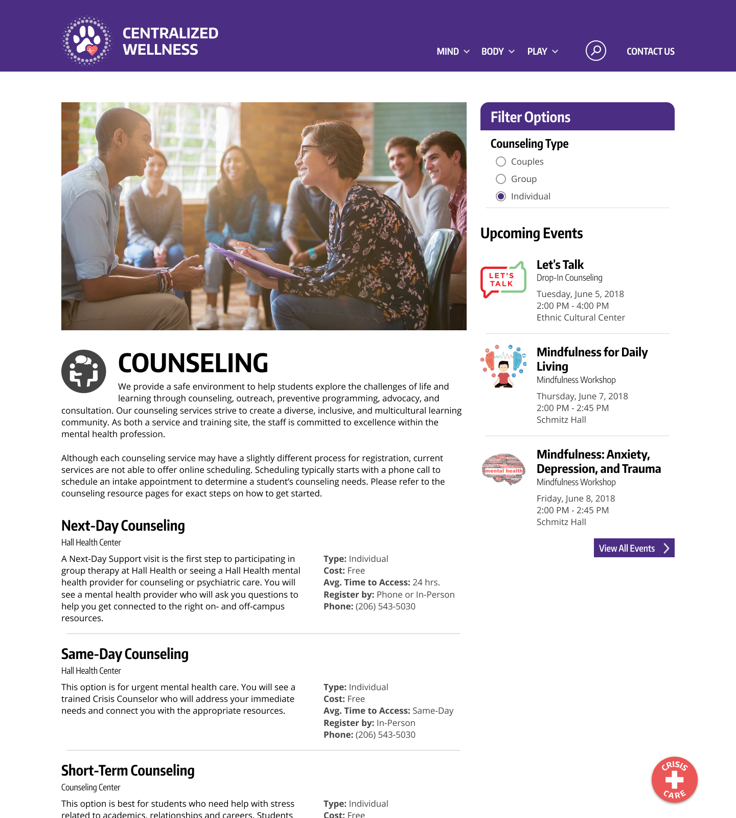 Counseling:  A results page that provides students with resource options.